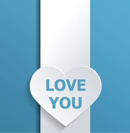 emphasizing: Simple Valentines Day Concept Design Emphasizing Empty White Heart Shape on a Banner with Love You Texts Against Sky Blue Background. Stock Photo