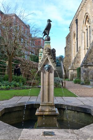 winchester: Water pouring from three streams in the famous Queen Eleanor Garden fountain near the Great Hall of Winchester Castle in the southern United Kingdom