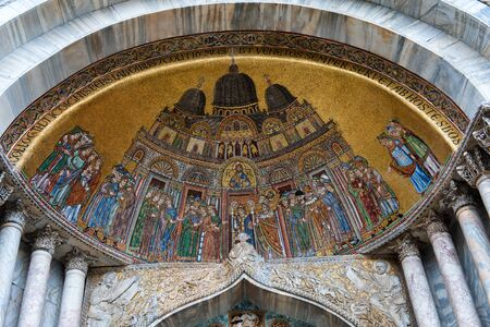 saint mark square: Mosaic above Entrance of St Marks Basilica in Venice, Italy Editorial