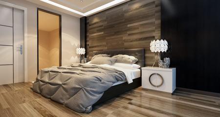 case moderne: Camera da letto interni moderni con illuminazione ambientale e un letto elegante davanti a una parete di legno in una casa di lusso. Rendering 3D.