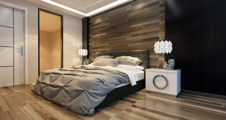 Modern bedroom interior with overhead lighting and a stylish bed in front of a wooden wall in a luxury home. 3d Rendering.