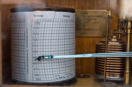 sismogr�fo: Cierre de la m�quina de sism�grafo de edad con estuche de madera y cableado de cobre en la pantalla Foto de archivo