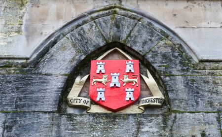 City of Winchester official seal in old mossy arch on building in the United Kingdom Banco de Imagens