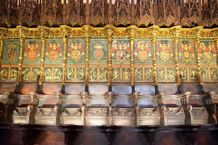 barcelona cathedral: Detail of Ornate and Intricately Decorated Choir Seating in Historic Barcelona Cathedral, Barcelona, Spain Editorial