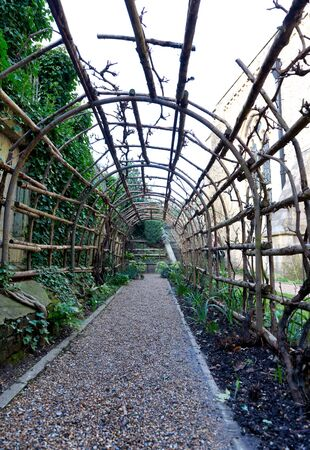 trellis: Interior view on stone path of long wooden garden trellis outside of the historic Winchester Castle in the United Kingdom