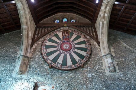 great hall: Low angle view of symbol of the knights of the round table in the historic medieval castle of Winchester in the United Kingdom