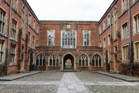 winchester: WINCHESTER, UK - FEBRUARY 07, 2016: Great courtyard with college buildings at Winchester College. February 07, 2016 in Winchester, UK. Editorial