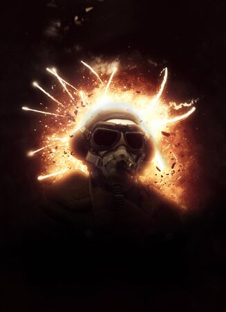ww1: Dramatic image of a WW1 soldier wearing a vintage gas mask and helmet in action against a fiery explosion with sparks in the darkness behind him