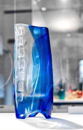 venecian: Modern glass vase in bi color blue and clear glass from the island of Murano, Italy in the Venetian lagoon famous for its glass manufacturing Editorial