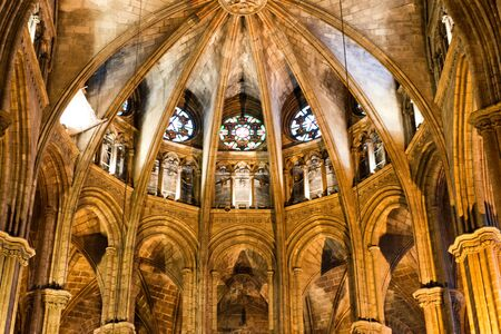 ecclesiastical: Architectural Detail of Apse in Interior of Barcelona Cathedral with Round Stained Glass Windows, Barcelona, Spain