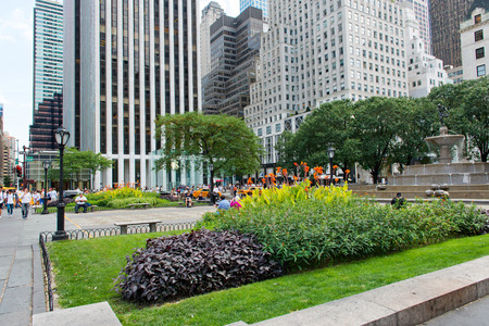 fifth avenue: Manicured Gardens in City Park on Fifth Avenue with Skyscrapers in Background, Middle Upper Manhattan, New York City, New York, USA
