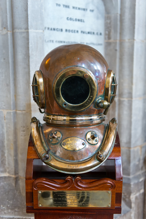 winchester: WINCHESTER, UK - FEBRUARY 07, 2016: Diving helmet of William Walker, the diver who saved Winchester Cathedral. February 07, 2016 in Winchester, UK.