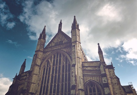 winchester: Facade of Winchester Cathedral in England, UK