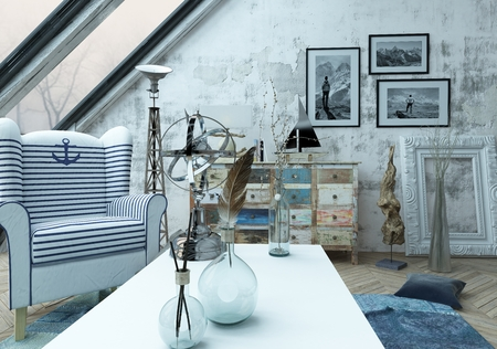 blue carpet: Beautiful hipster loft decorated with various objects on and around white table over blue carpet below large slanted windows. 3d Rendering. Stock Photo
