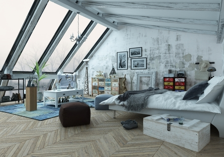 slanted: Loft bedroom covered in hardwood floors with pictures, seat cushions and other decorations with slanted windows above. 3d Rendering.