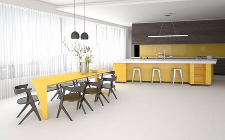 open plan: Luxury elegant yellow and grey kitchen and dining room interior with a spacious open plan room with fitted cabinets and appliances, a bar counter and stylish table and chairs with a glass wall. 3d Rendering. Stock Photo