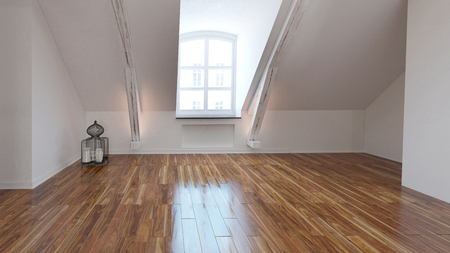 sloping: Empty loft room interior with dormer window and a shiny wooden parquet floor with a white sloping wall. 3d Rendering.