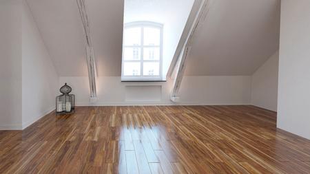 Leere Loft-Zimmer inter mit Dachfenster und einem glänzenden Parkettboden aus Holz mit einem weißen schrägen Wand. 3D-Rendering.
