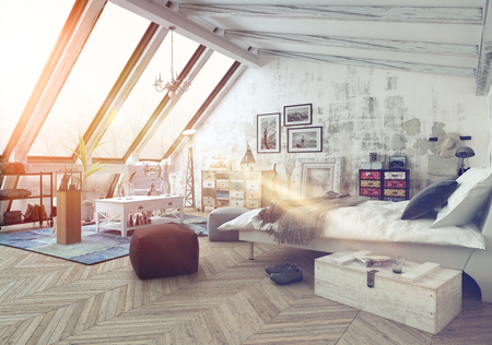 Sunlight shining into modern hipster style loft bedroom covered in hardwood floors with pictures, seat cushions and other decorations with slanted windows above