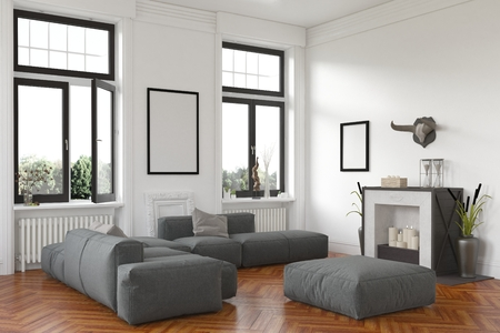 lounge: Stylish living room interior with fireplace and comfortable grey lounge suite on a hardwood floor below two windows with a view of the garden. 3d Rendering.