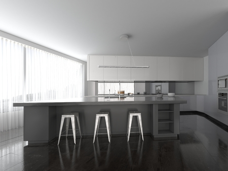 house render: Spacious open-plan modern grey and white fitted kitchen interior with a bar counter with contemporary stools and a full length glass wall or view window with blinds. 3d Rendering.