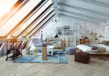Sunlight shining into modern hipster style loft bedroom covered in hardwood floors with pictures, seat cushions and other decorations with slanted windows above. 3d Rendering. Stock Photo - 54596081