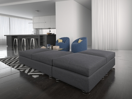 open plan: Modern ottoman style lounge suite in a large airy open plan living room interior in sombre grey and white with a bold zigzag carpet. 3d Rendering.