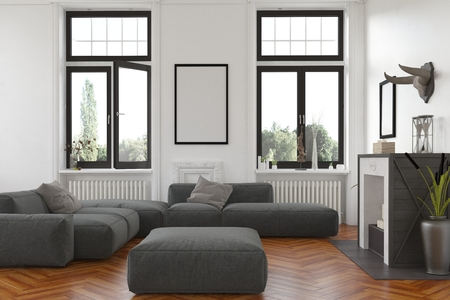 upholstered: Cozy living room interior with fireplace and radiators below tall windows overlooking the garden and a comfortable grey upholstered lounge suite with blank picture frame on the wall. 3d Rendering.
