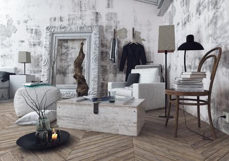 silla de madera: 3D render de estilo gran marco de fotos en la habitación con paredes sin terminar y libros apilados en la vieja silla de madera sobre suelo de madera. Representación 3d. Foto de archivo