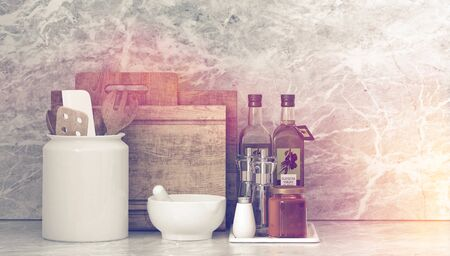 gourmet kitchen: Toned artistic image with sun flare of assorted kitchen utensils for gourmet cooking with a pestle and mortar, olive oil , cutting boards and condiments on a counter. 3d Rendering.