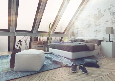 habitacion desordenada: 3D hacen de alfombra arrugada en el dormitorio desordenado con el sol que entraba por las ventanas del techo hermosas catedral. Representación 3d.