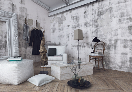 scandinavian: Cushions, lamps and sofa cushions on herringbone pattern wooden floor in room with unfinished white walls. 3d Rendering.