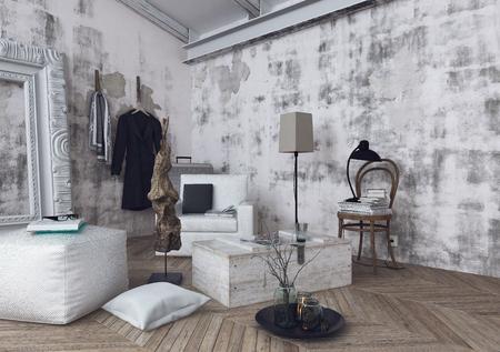 Skandinavier Kissen Lampen Und Sofakissen Auf Fischgrtmuster Holzboden Im Zimmer  Mit Unfertigen Weien Wnden   Muster