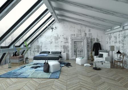 Grande chambre avec de grandes fenêtres inclinées verticales, plafond et grand cadre voûté pour les peintures sur le mur sur plancher de bois en motif à chevrons. Rendu 3D.