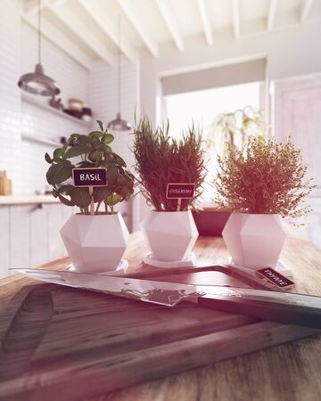 Sharp chefs knife on a wooden chopping board with three potted plants in white containers on a wooden kitchen counter in a modern white kitchen with beamed ceiling. 3d Rendering.
