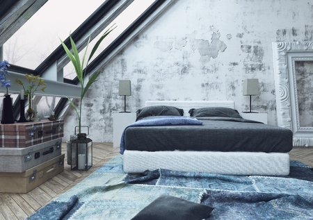 Stack of three garment boxes and potted plant on floor in bedroom with crumped blue carpet and unfinished white walls. 3d Rendering. Фото со стока