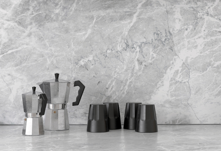 percolator: Pairs of black and chrome finish polygonal shaped coffee pots and cups on smooth granite marble surface. 3d Rendering.