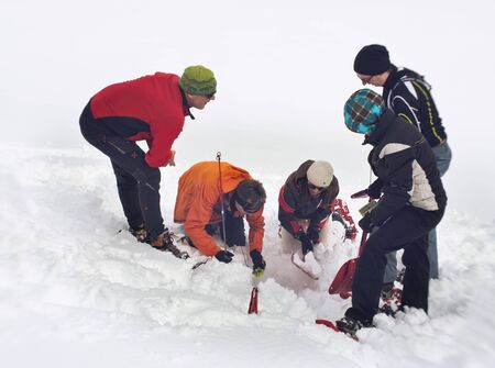 search searching: WERTACHER HOERNLE, WERTACH, GERMANY - FEBUARY 28 2016: A search and rescue team searching deep snow for a buried victim grouped around a hole they have excavated with spades.