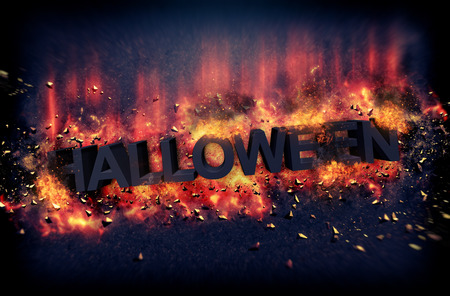 damnation: Dramatic Halloween poster with burning hot flames and fiery explosive sparks on a dark background with text - Halloween