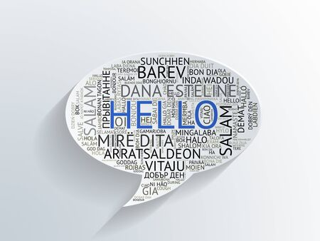 helpfulness: Paper cutout speech bubble with the word Hello in multiple different languages in assorted texts and sizes over a textured grey gradient background with shadow