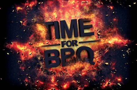 incendiary: Artistic dramatic poster for - Time for BBQ - with black text surrounded by fiery orange flames and sparks over a black background Stock Photo