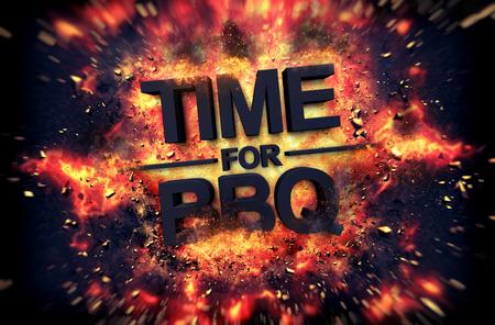 Tiempo para el diseño del cartel de barbacoa de fuego con llamas de color naranja dramáticos y chispas explosivas en un fondo oscuro alrededor del texto negro