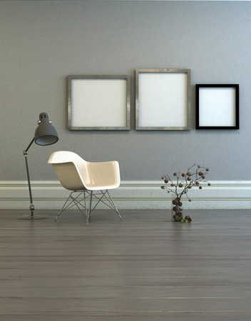 room wall: Three blank picture frames with steel borders in room with empty plastic chair, adjustable lamp and dried flower arrangement on wooden floor. 3d Rendering. Stock Photo