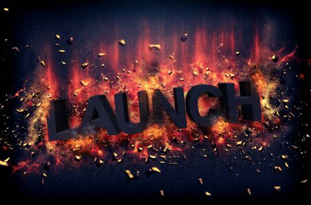 forged: Burning orange fiery flames and explosive sparks on a dark background with the word - LAUNCH - in black text for a dramatic poster design Stock Photo