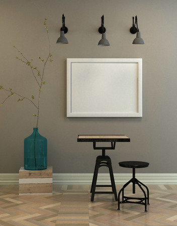 canvas background: Rendered interior scene of small tree in water bottle, square table and adjustable round stool with large single blank picture frame on gray wall under wall lamps. 3d Rendering.
