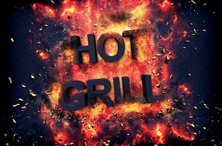red hot iron: Burning orange fiery flames and explosive sparks on a dark background with the word - HOT GRILL - in black text for a dramatic poster design