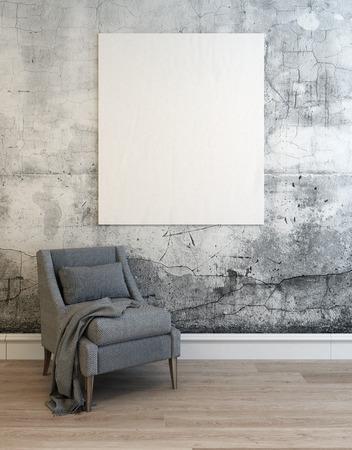 3D-Darstellung von leeren Betonmauer Raum mit grauem Sofa Stuhl über Parkettboden und weiße untere Form. 3D-Rendering.