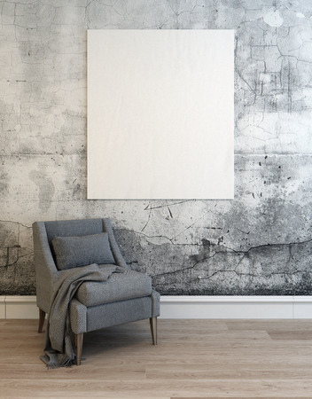 3D render of empty concrete walled room with gray sofa chair over hardwood floor and white lower molding. 3d Rendering.