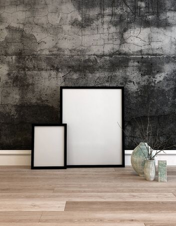 framed picture: 3D rendered setting of two white frames resting on top of hardwood floor in front of concrete wall next to potted plants. 3d Rendering.
