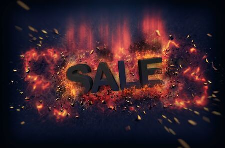 dynamic heat black: Burning orange fiery flames and explosive sparks on a dark background with the word - SALE - in black text for a dramatic poster design